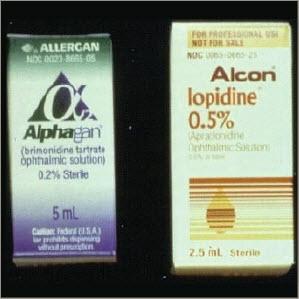 Figure 22. Brimonidine tartate (Alphagan, Allergan) and apraclonidine hydrochloride (Iopidine, Alcon) ophthalmic solutions.