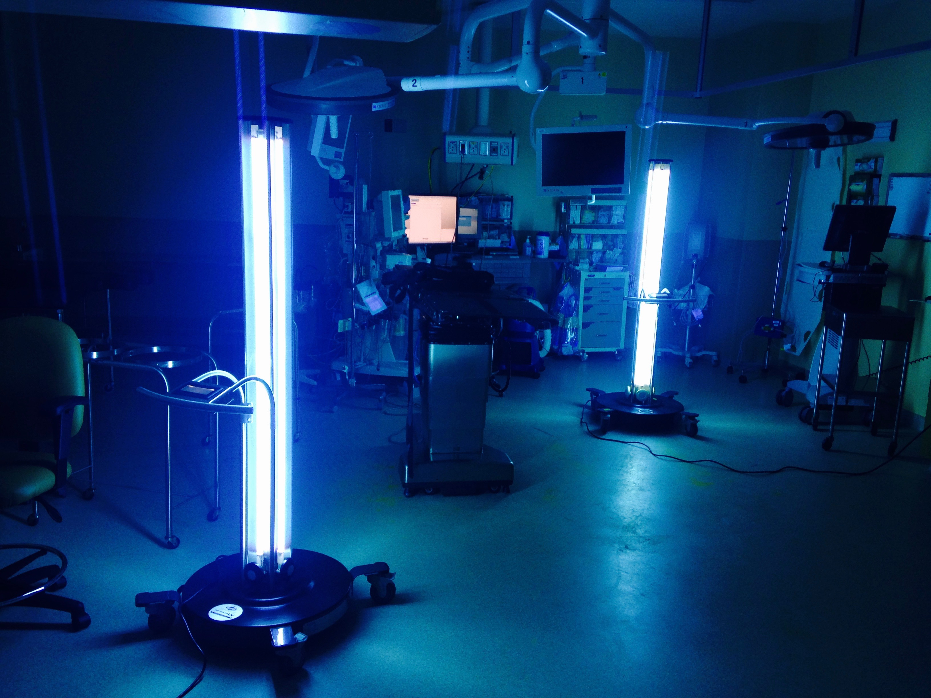 UV-C light in hospital room