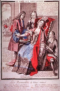 A woman sitting in a chair is being bled by two physicians while a third physician kneels at her side holding a clyster