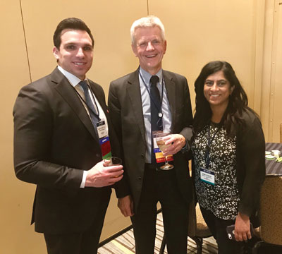 John Sweetenham, MD, HemOnc Today's Chief Medical Editor for Hematology, chats with honorees Daniel E. Spratt, MD, and Mamta Parikh, MD, MS.