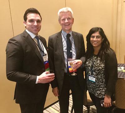 John Sweetenham, MD, HemOnc Today's Chief Medical Editor for Hematology, chats with honorees Daniel E. Spratt, MD, and Mamta Parikh, MD, MS.