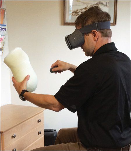 Jeff Erenstone, CPO, founder and CEO of Create O&P, uses modification software in virtual reality to make digital plaster models.