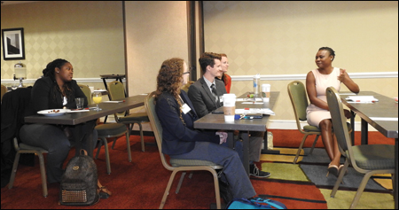 Brittany Robinson (far right), an O&P resident, talks to students from Georgia Institute of Technology about her experiences in O&P.