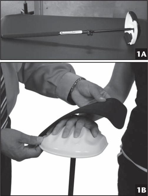 The Upper Extremity Ranger (Rehab Innovations, Inc, Omaha, Nebraska) uses a telescoping pole (A) with one formed end that accommodates the entire hand (B).