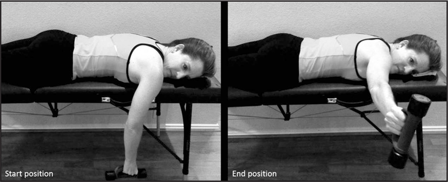 Prone horizontal abduction with external rotation rehabilitation exercise.