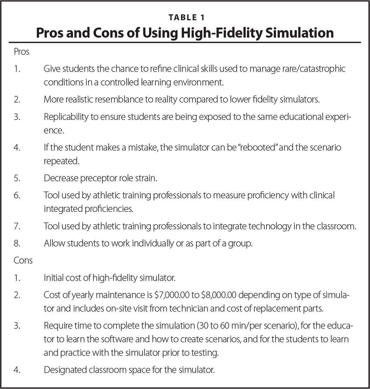 Pros and Cons of Using High-Fidelity Simulation