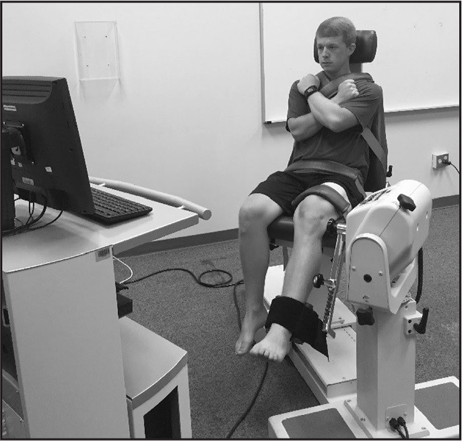 Isokinetic dynamometer set-up. Participant performing voluntary isometric contraction with the lever arm fixed at 60°.
