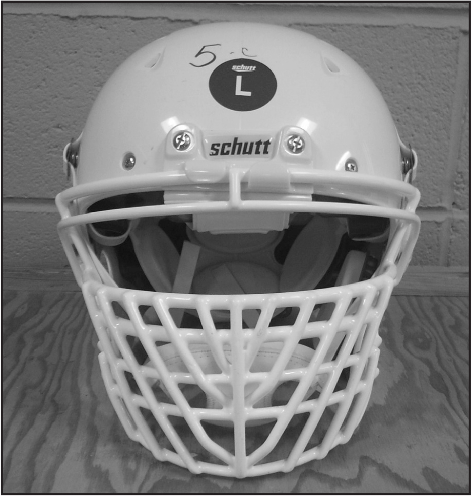 An example of an overbuilt-style facemask on a football helmet.