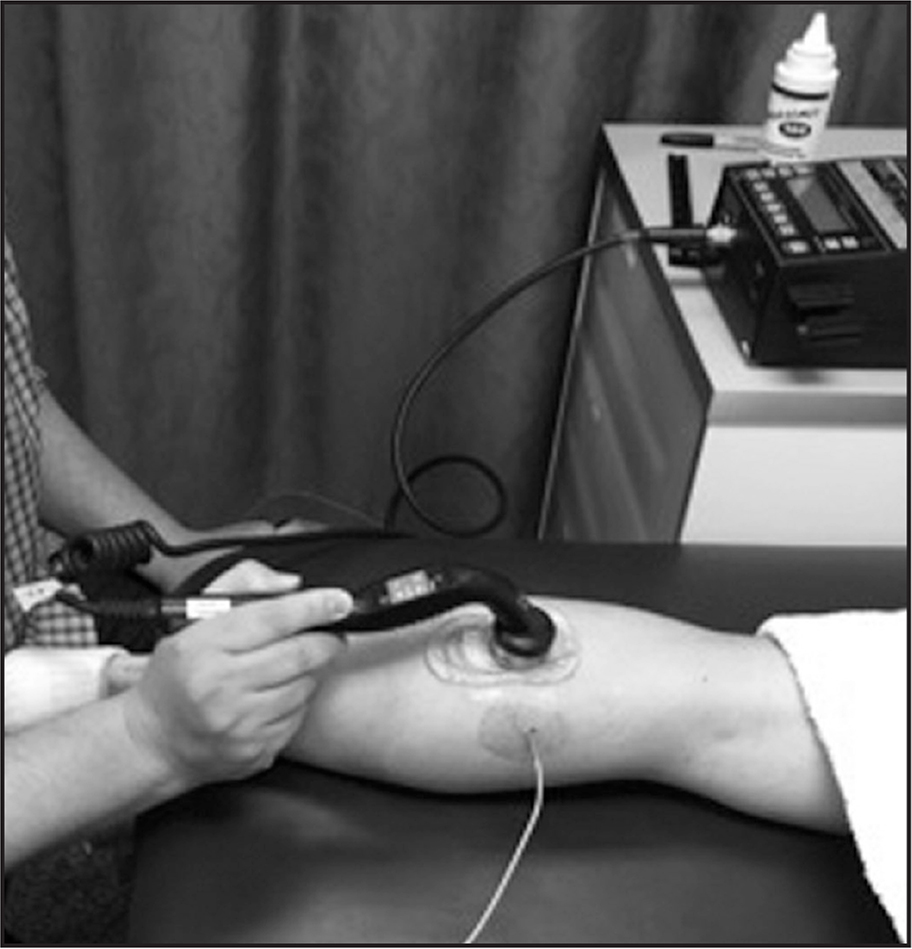Therapeutic ultrasound treatment over the triceps surae muscle at 1.0 W/cm2. Treatment area equals 2× transducer size (10 cm2).