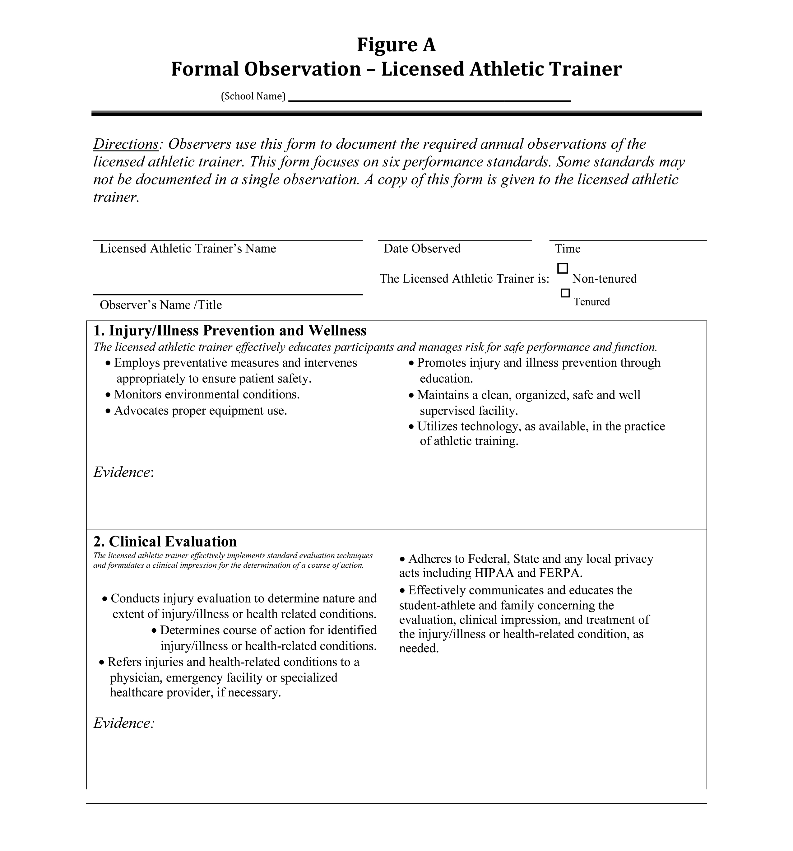 Formal Observation – Licensed Athletic Trainer