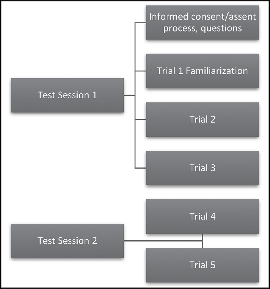 Flow chart of the testing protocol used to demonstrate trials 1–5.