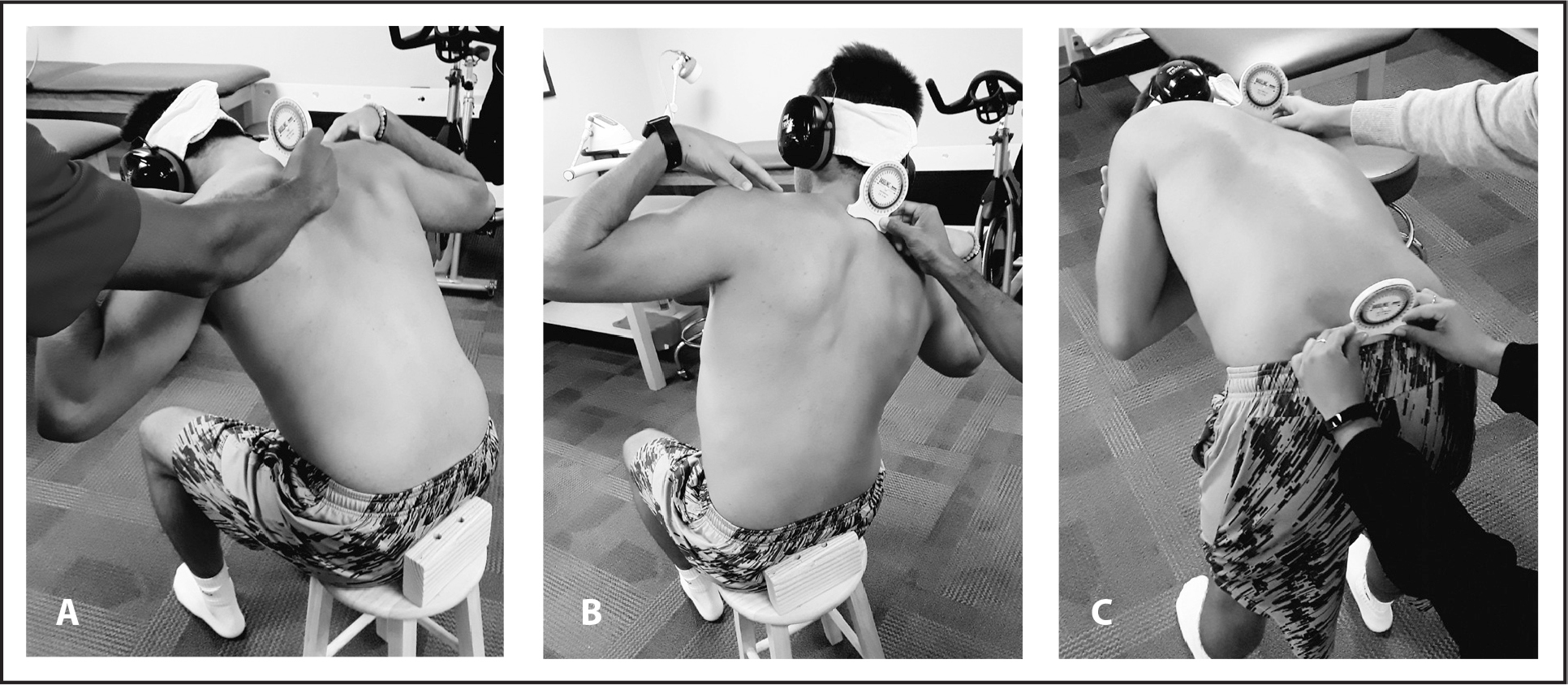 Measuring thoracolumbar active repositioning error for (A) flexion, (B) side-bending, and (C) rotation.
