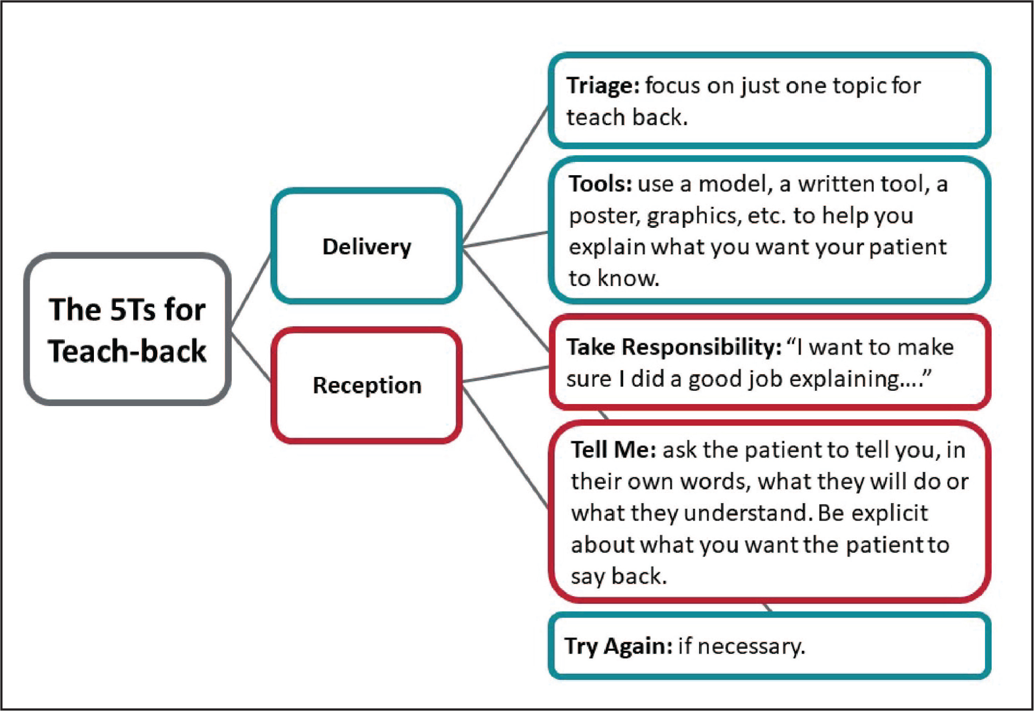 The 5Ts for Teach Back. Teach Back is about delivery and reception.