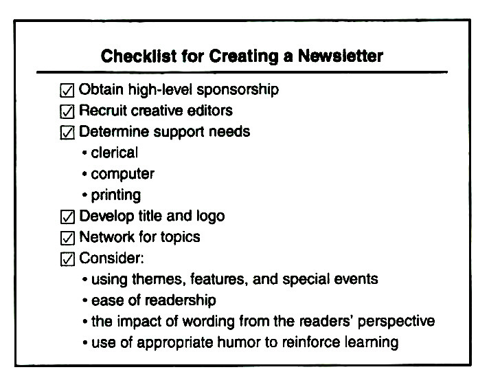 Checklist for Creating a Newsletter