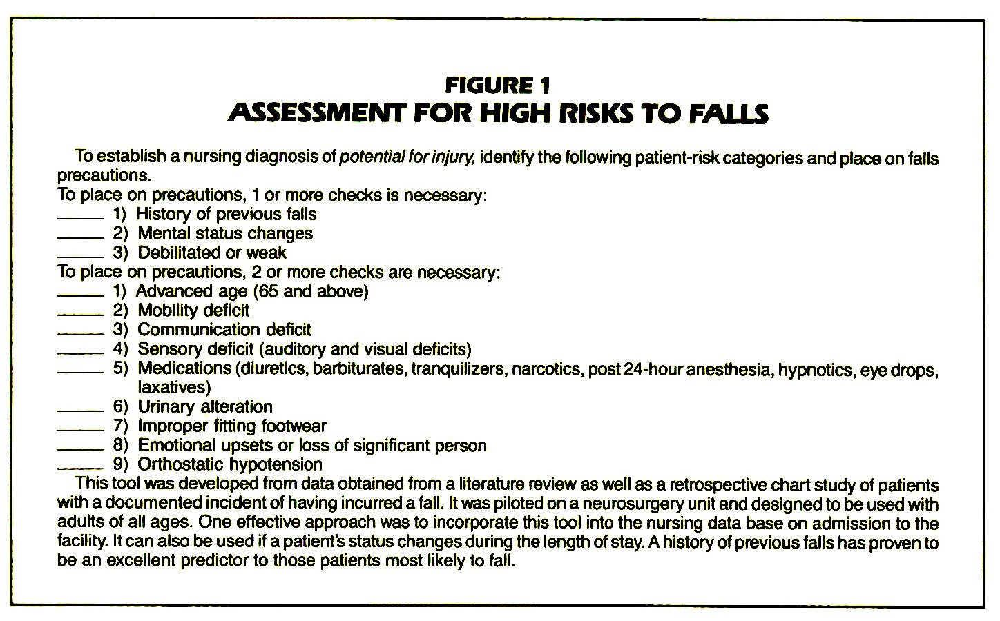 FIGURE 1ASSESSMENT FOR HIGH RISKS TO FALLS