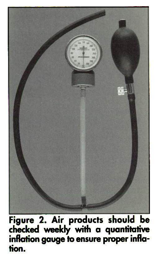 Figure 2. Air products should be checked weekly with a quantitative inflation gauge to ensure proper inflation.