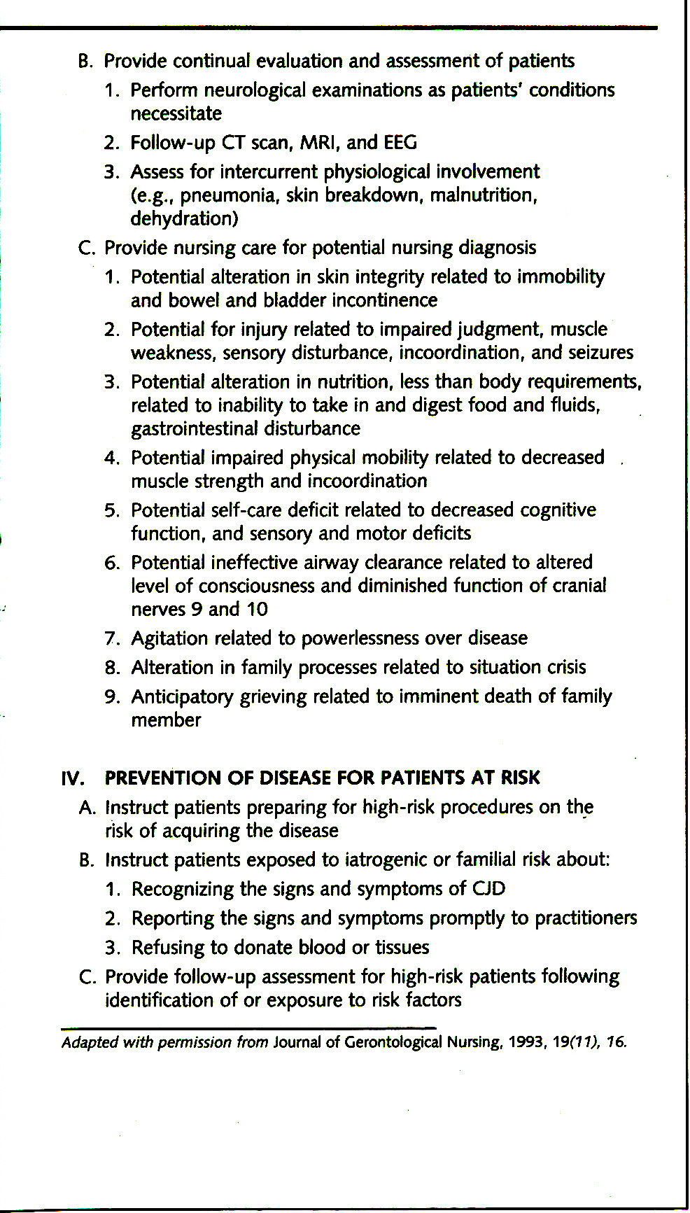 TABLE 2PROTOCOL FOR ASSESSMENT AND MANAGEMENT OF PATIENTS WITH CJD AND nvCJD