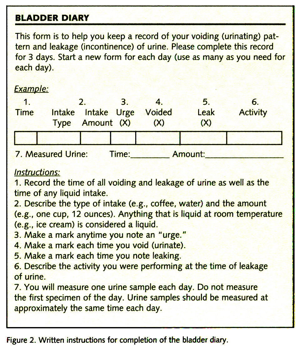 Figure 2. Written instructions for completion of the bladder diary.