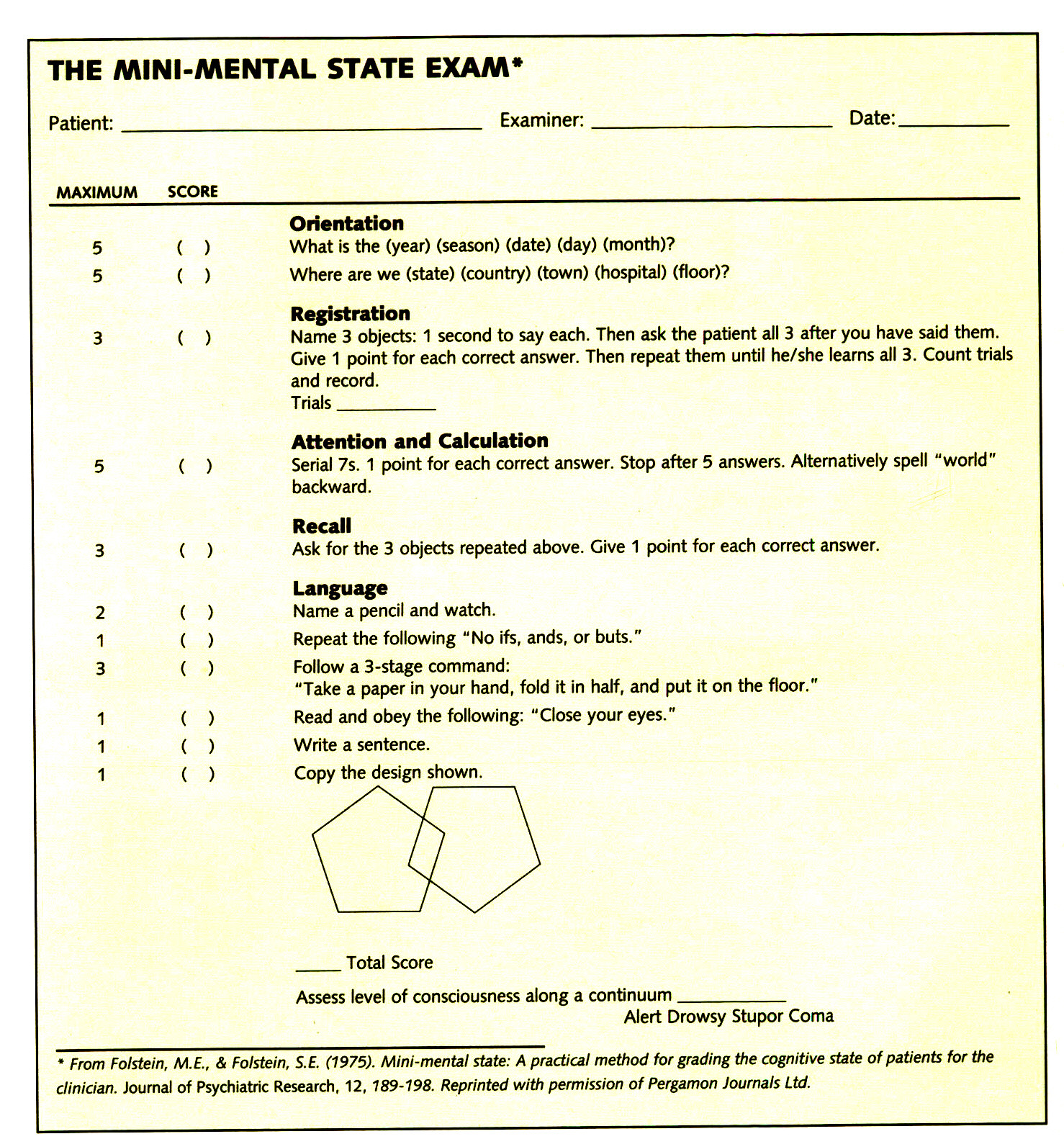 Relativ The Mini-Mental State Examination (MMSE) DA88