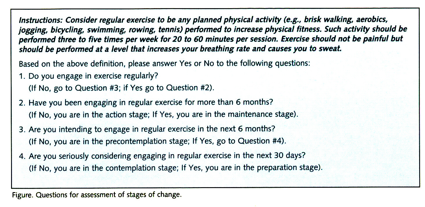 Figure. Questions for assessment of stages of change.