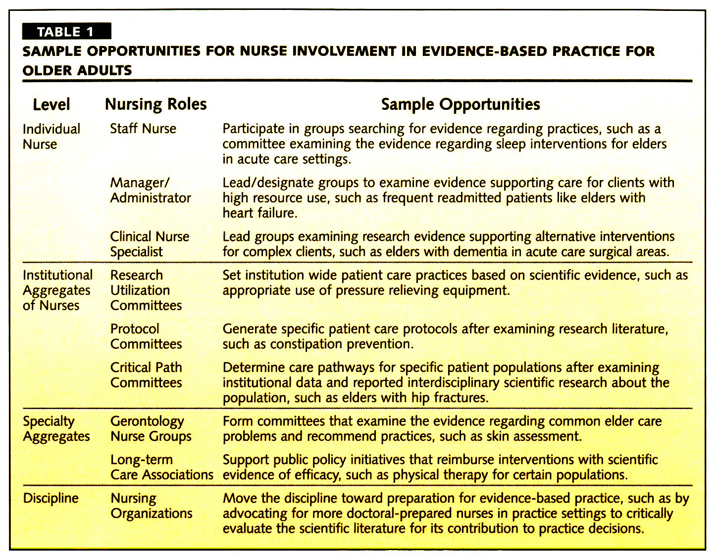 TABLE 1SAMPLE OPPORTUNITIES FOR NURSE INVOLVEMENT IN EVIDENCE-BASED PRACTICE FOR OLDER ADULTS