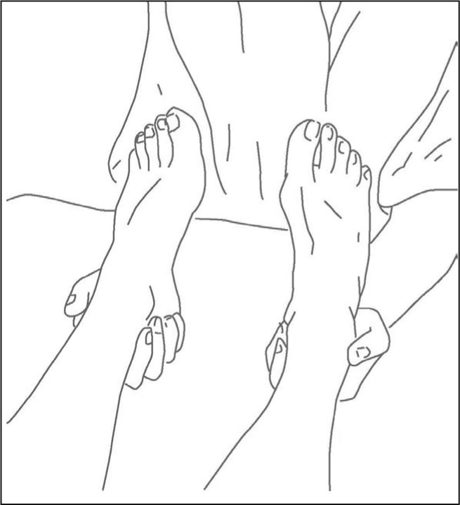 Hand position for craniosacral still point technique implementation at the feet. Used with permission from the Upledger Institute, Inc. © 2007. http://www.upledger.com