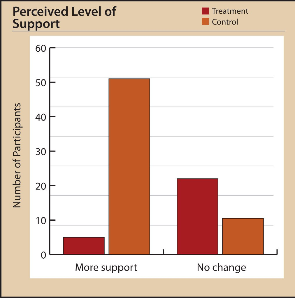 Participants' Perceived Level of Support at Posttest.