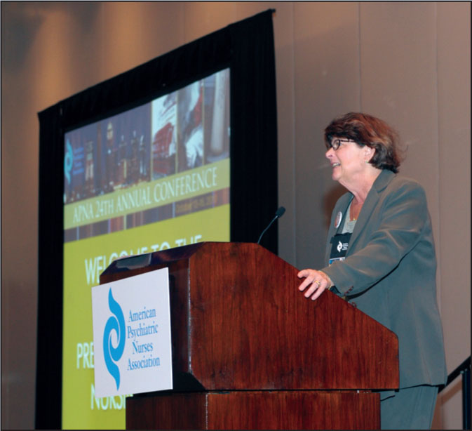 JGN Editor Kathleen C. Buckwalter, PhD, RN, FAAN, Accepts the American Psychiatric Nurses Association's Psychiatric Nurse of the Year Award.© American Psychiatric Nurses Association
