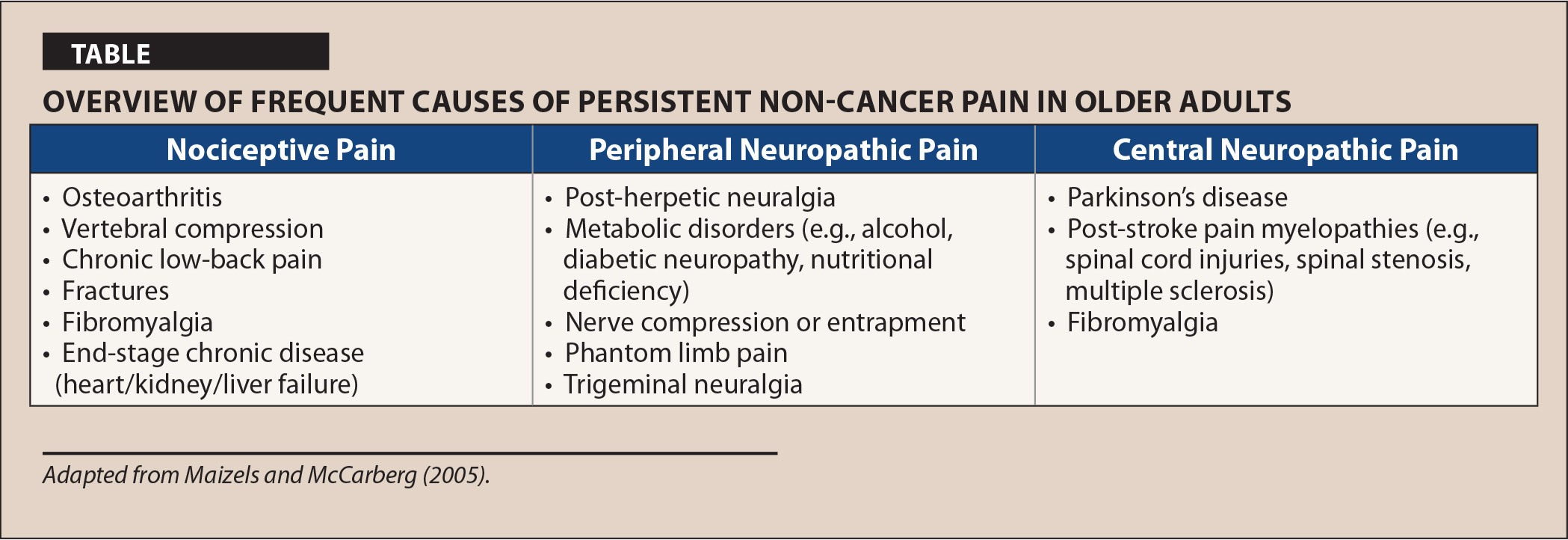 Overview of Frequent Causes of Persistent Non-Cancer Pain in Older Adults