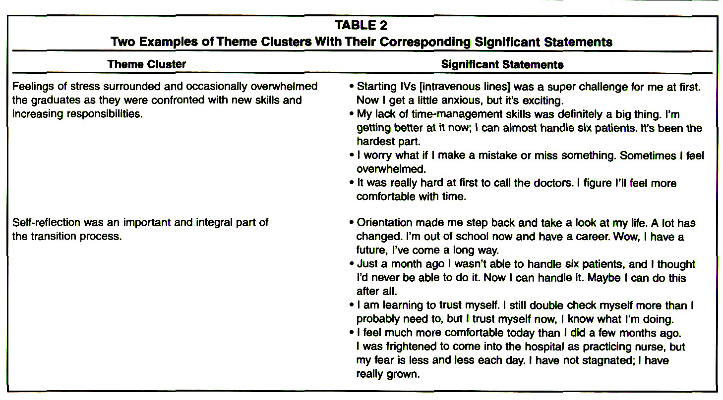 TABLE 2Two Examples of Theme Clusters With Their Corresponding Significant Statements