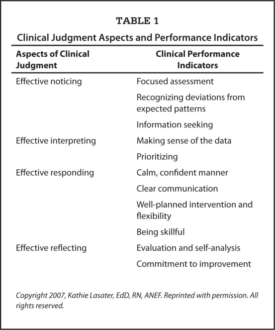 Clinical Judgment Aspects and Performance Indicators