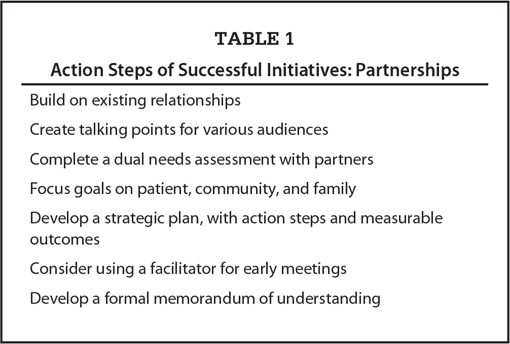 Action Steps of Successful Initiatives: Partnerships