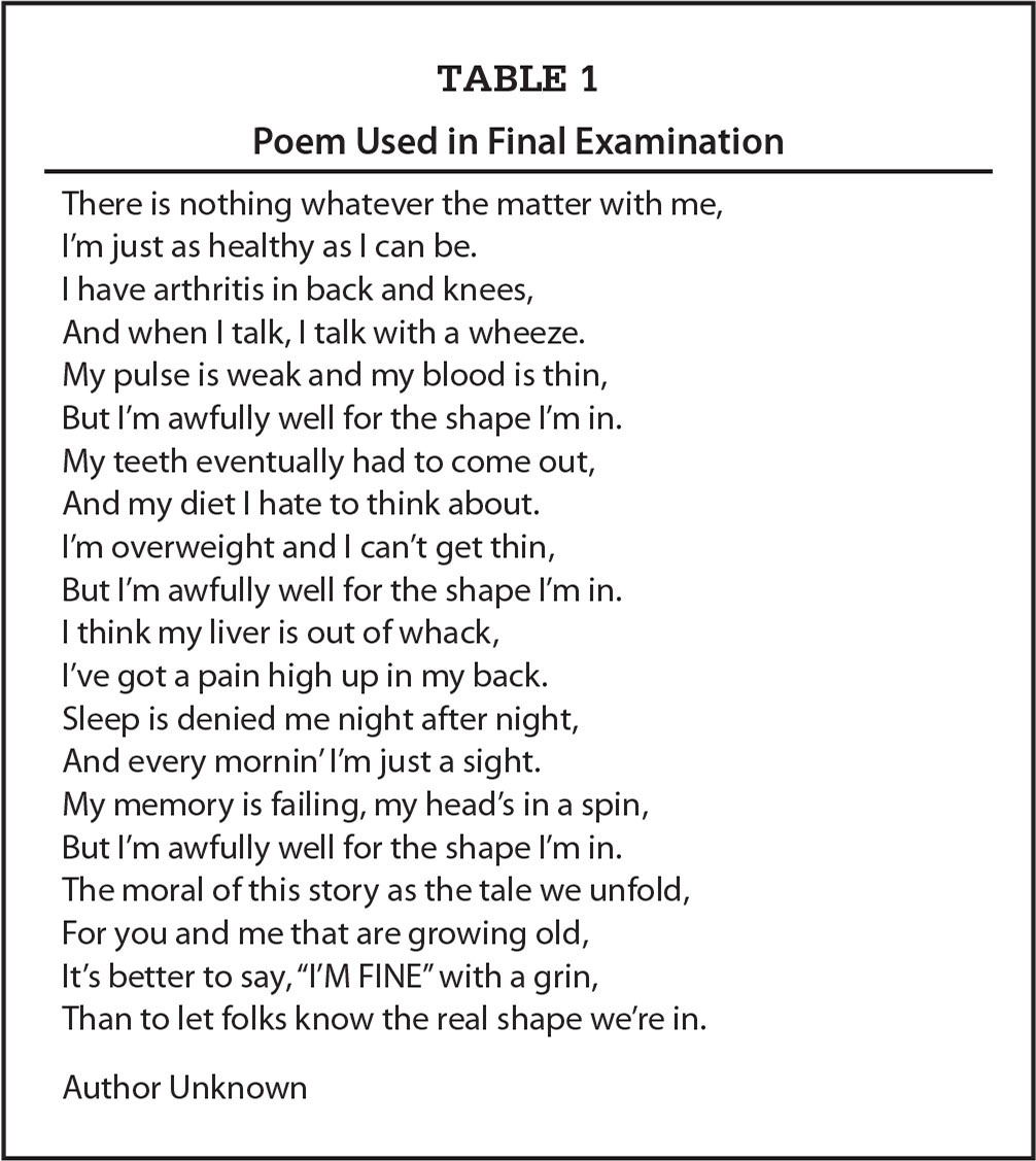 Poem Used in Final Examination