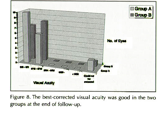 Figure 8. The best-corrected visual acuity was good in the two groups at the end of follow-up.