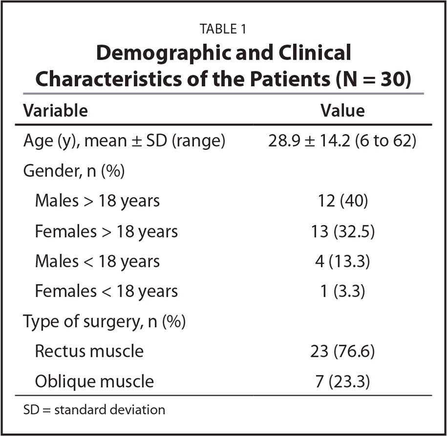 Demographic and Clinical Characteristics of the Patients (N = 30)