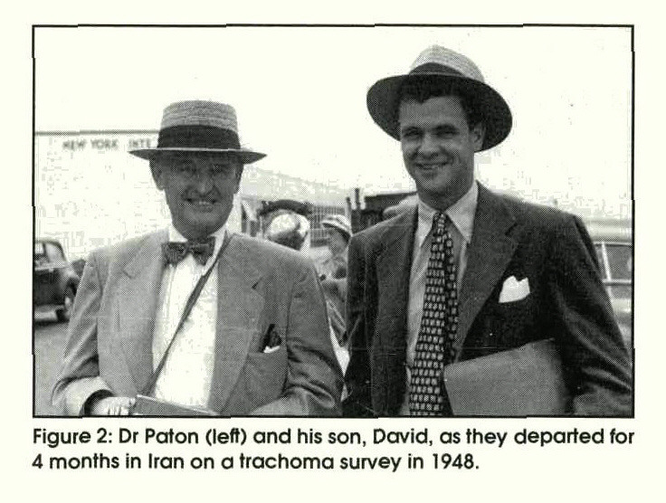 Figure 2: Dr Paton (left) and his son, David, as they departed for 4 months in Iran on a trachoma survey in 1948.