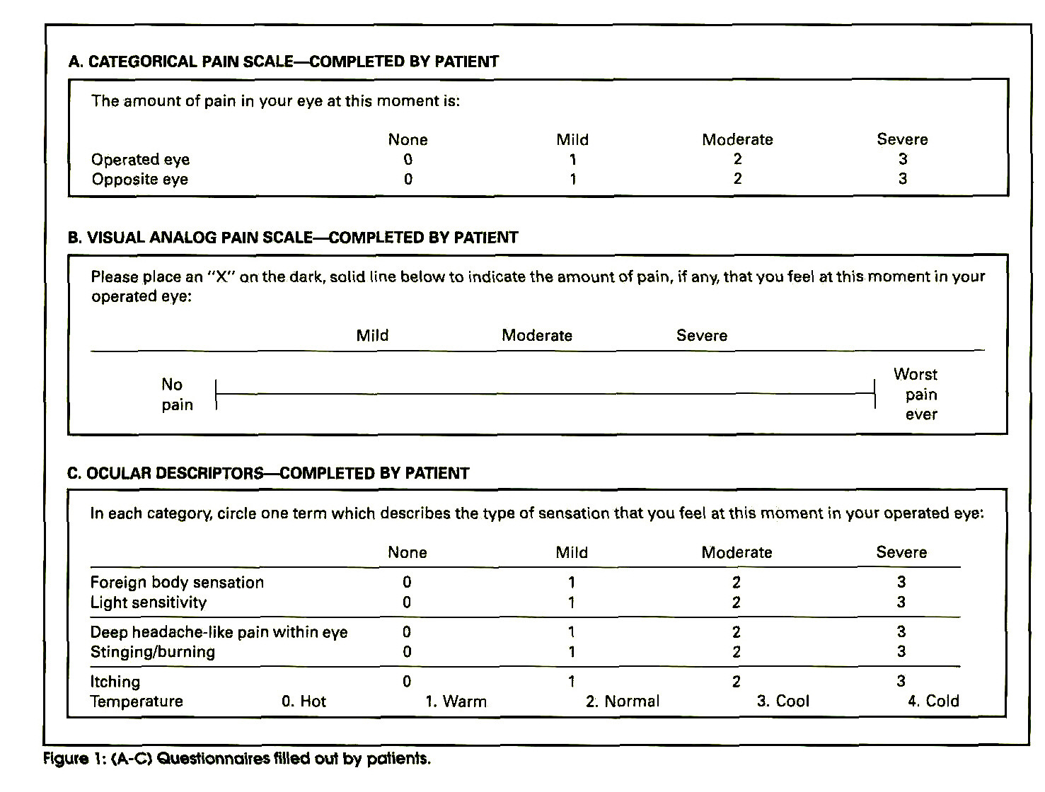 Figure V. (A-C) Questionnaires filled out by patiente.