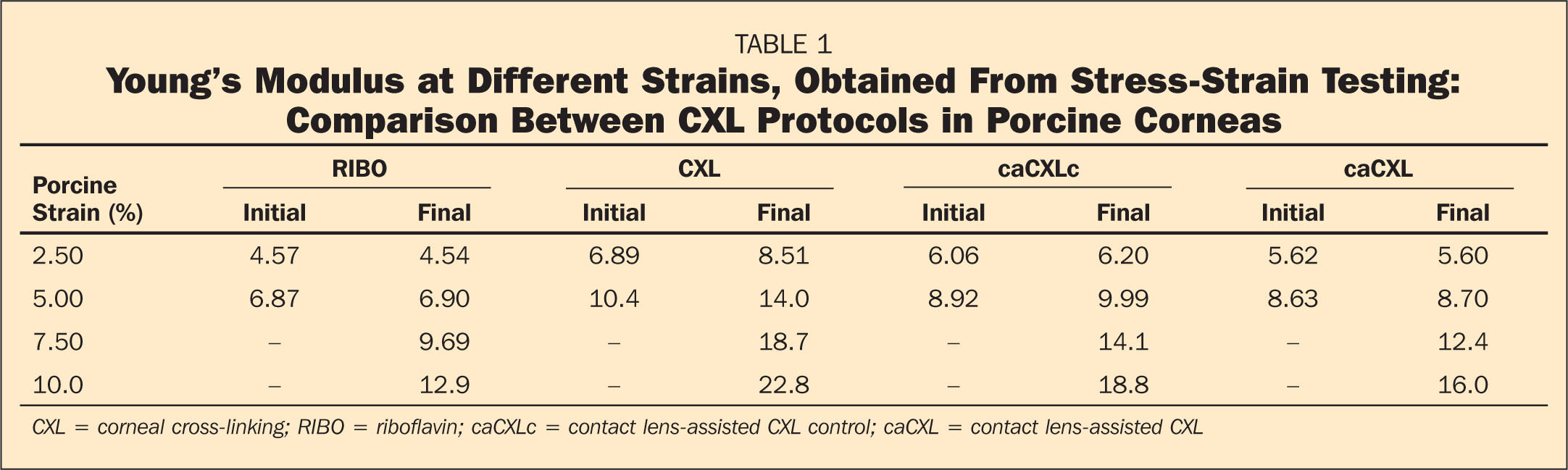 Young's Modulus at Different Strains, Obtained From Stress-Strain Testing: Comparison Between CXL Protocols in Porcine Corneas