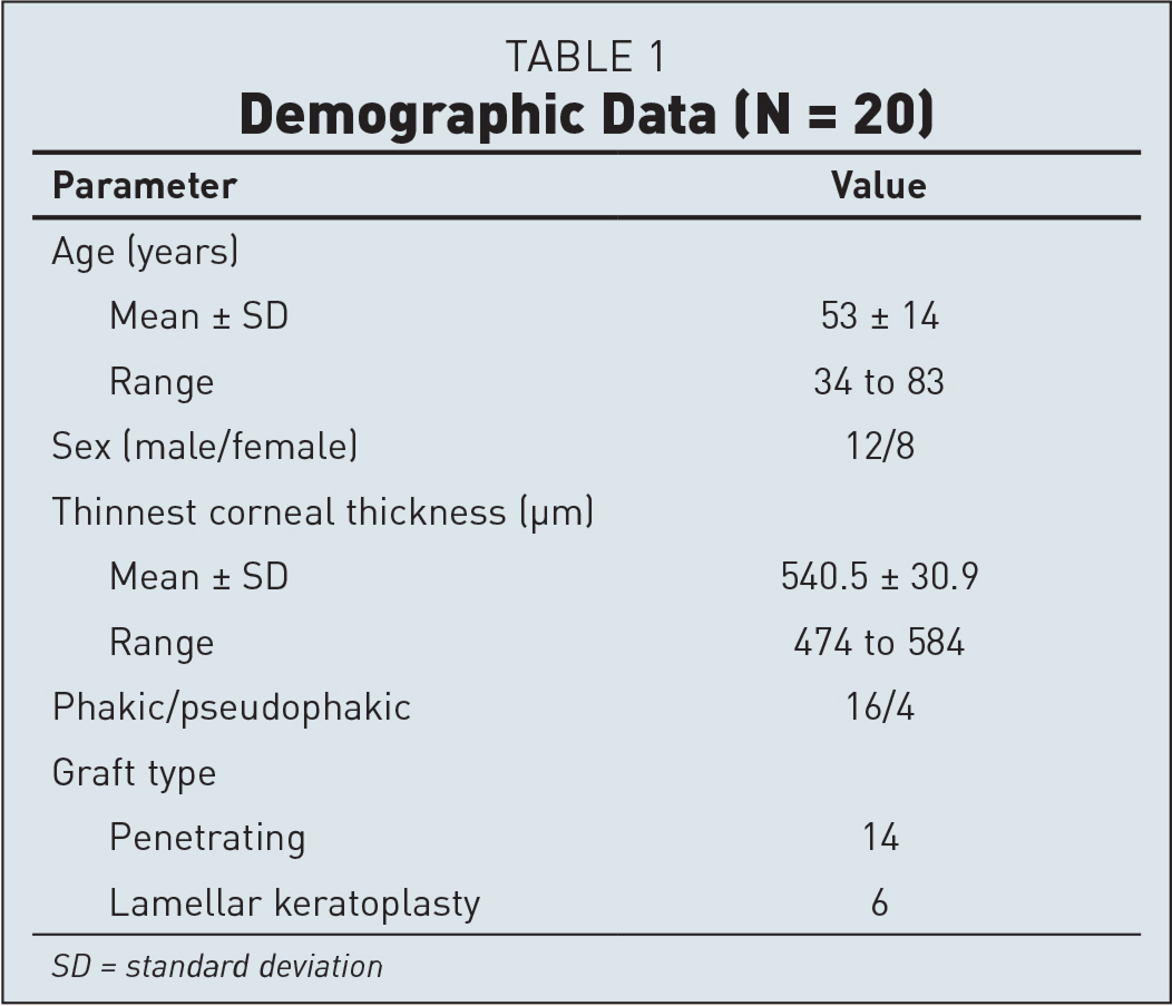 Demographic Data (N = 20)