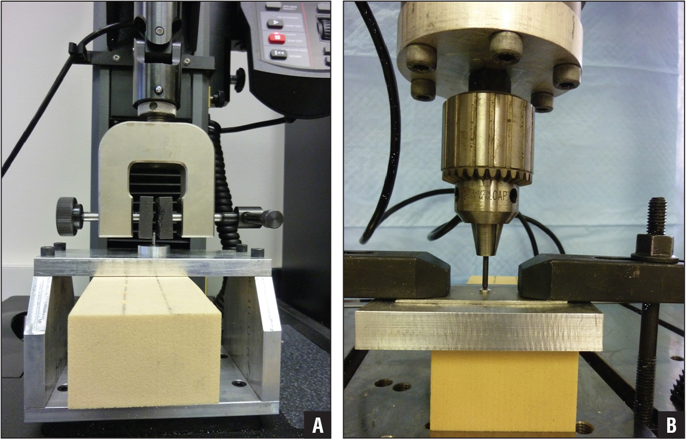Experimental setups used for screw pullout (A) and insertion torque (B) tests.