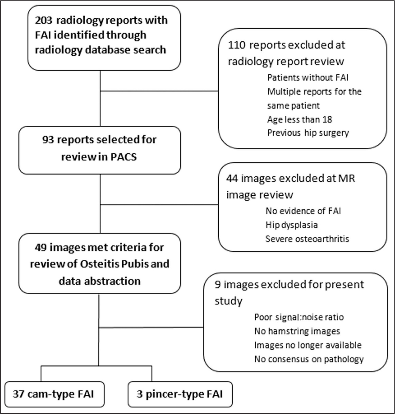 Flowchart of the search and selection process for the radiology report adapted from Phillips et al.5 Abbreviations: FAI, femoroacetabular impingement; MR, magnetic resonance; PACS, Picture Archiving and Communication System (Intellispace PACS; Phillips, Amsterdam, The Netherlands).