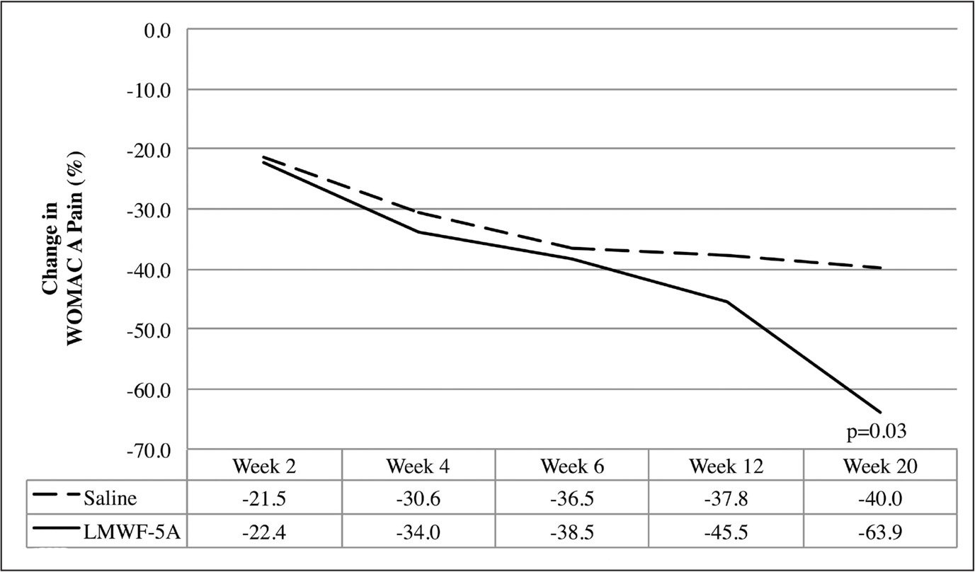 Summary of percentage of improvement in the Western Ontario and McMaster Universities Osteoarthritis Index (WOMAC) pain subscore over time, through week 20 (primary end point). Abbreviation: LMWF-5A, low–molecular-weight fraction of 5% human serum albumin.