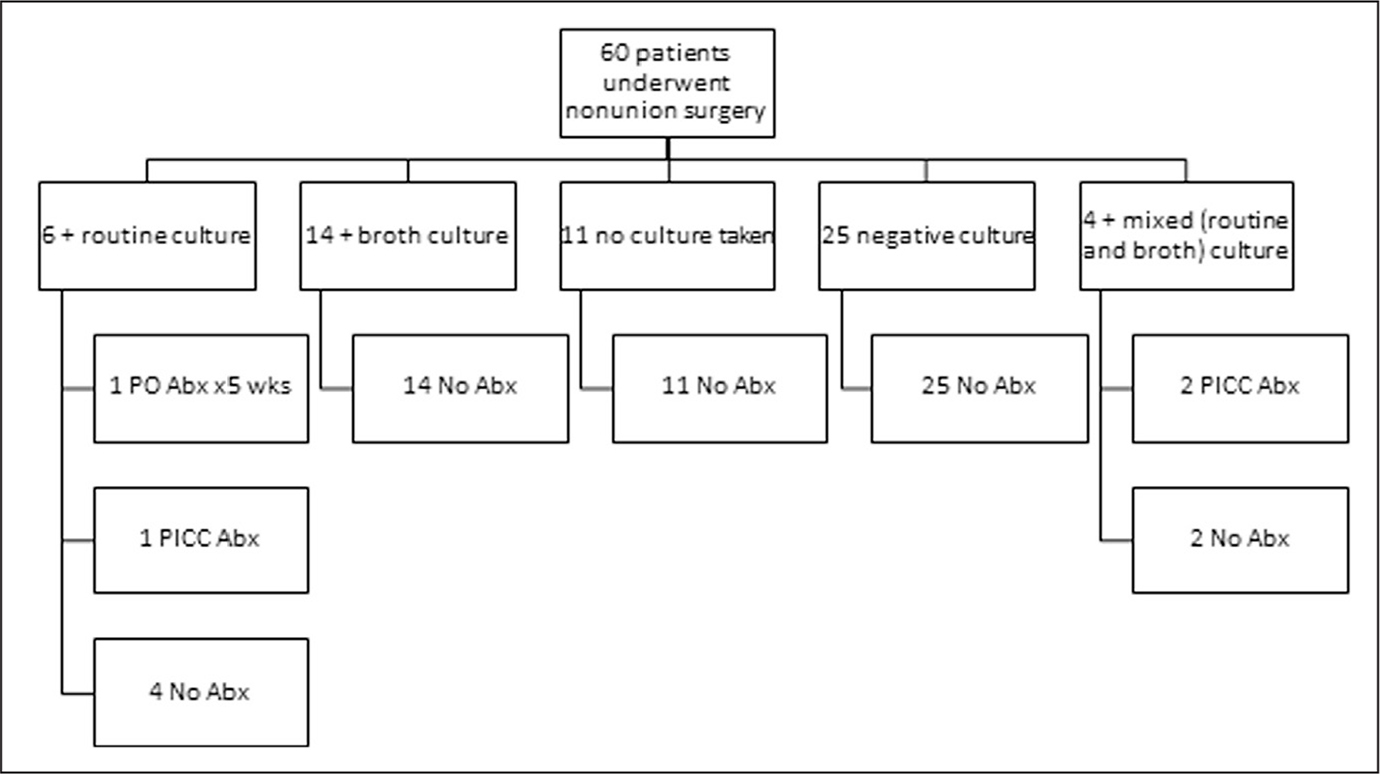 Intraoperative culture results and treatment. Abbreviations: Abx, antibiotics; PICC, peripherally inserted central catheter; PO, oral.