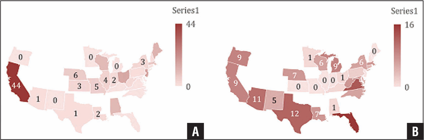 Heat map of practice locations for survey respondents across the United States for anesthesiologists (A) and orthopedists (B).