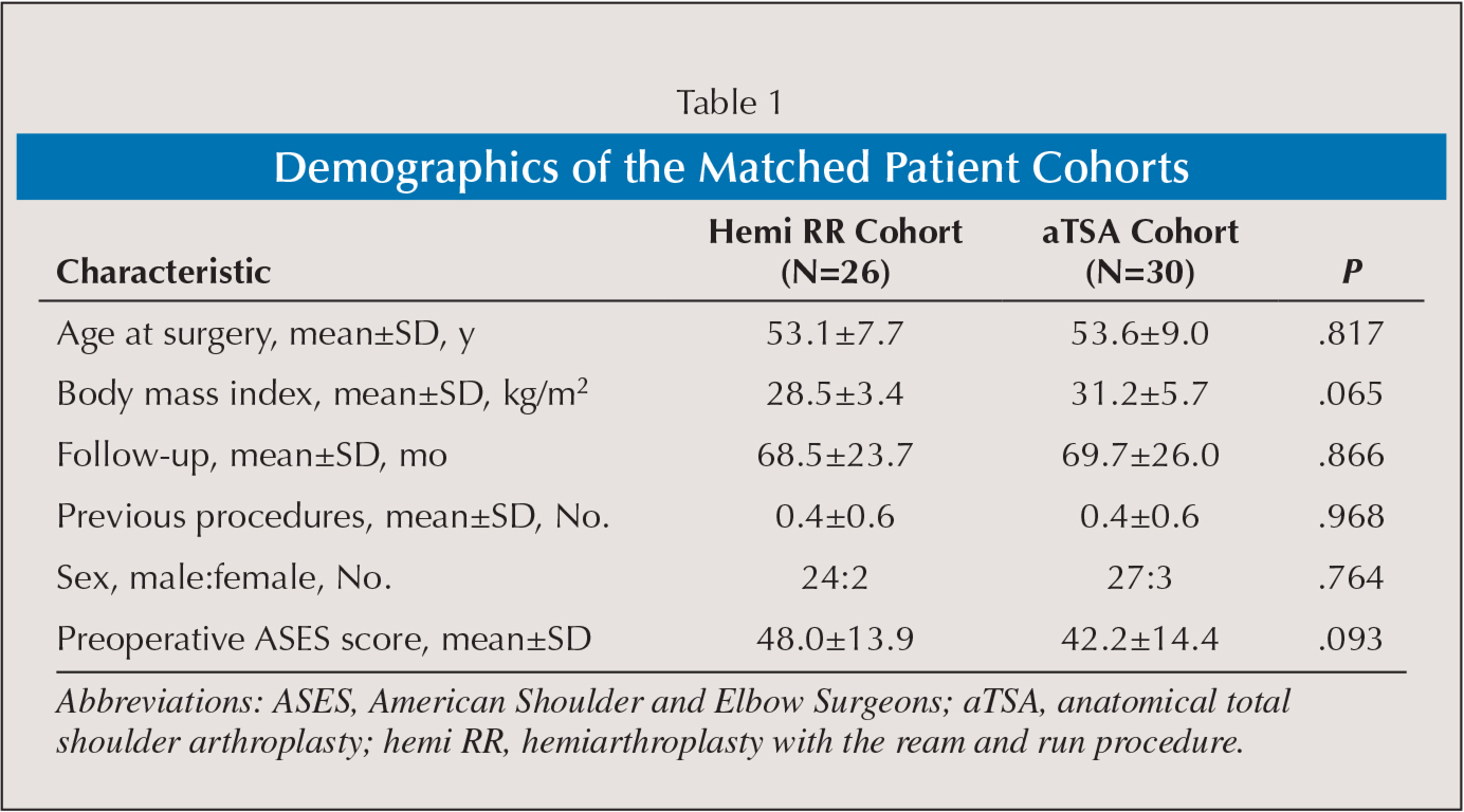 Demographics of the Matched Patient Cohorts