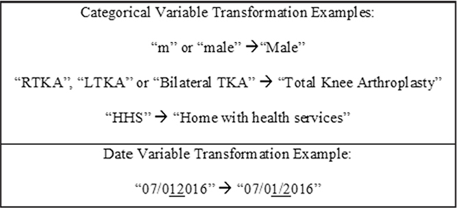 Categorical data transformation for demographics. Abbreviations: HHS, home health services; LTKA, left total knee arthroplasty; RTKA, right total knee arthroplasty; TKA, total knee arthroplasty.