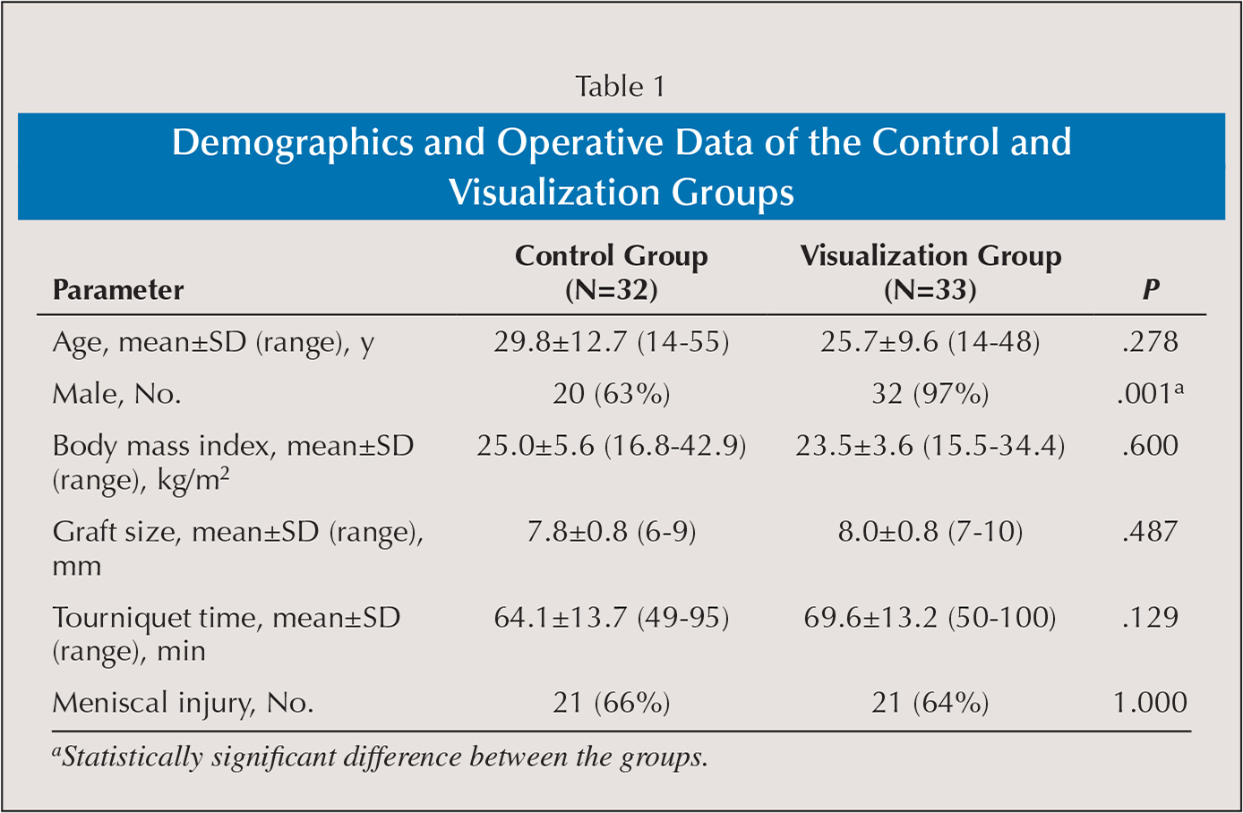 Demographics and Operative Data of the Control and Visualization Groups