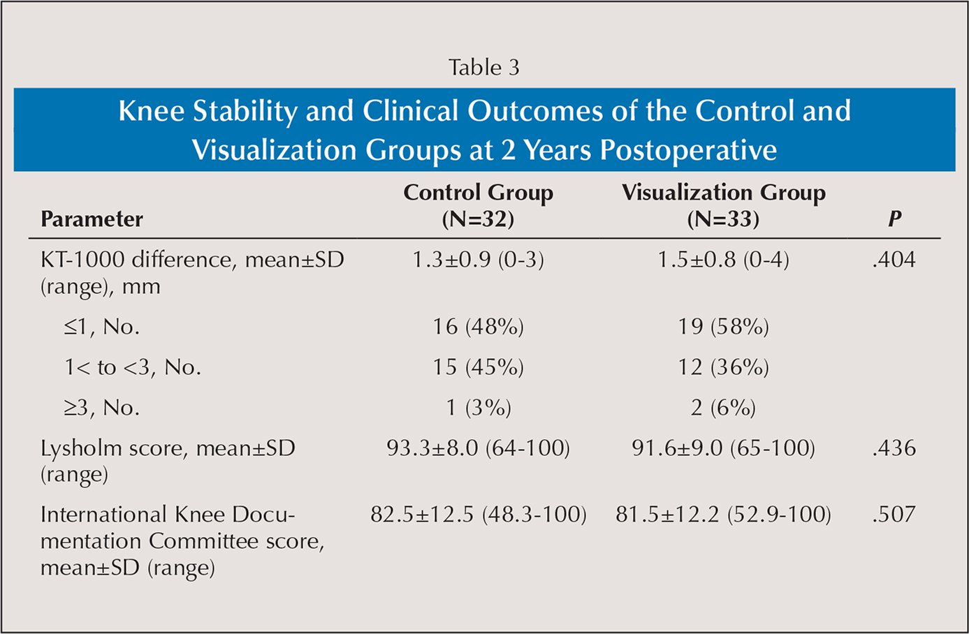 Knee Stability and Clinical Outcomes of the Control and Visualization Groups at 2 Years Postoperative