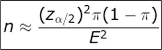 Formula for calculating the minimum sample size.
