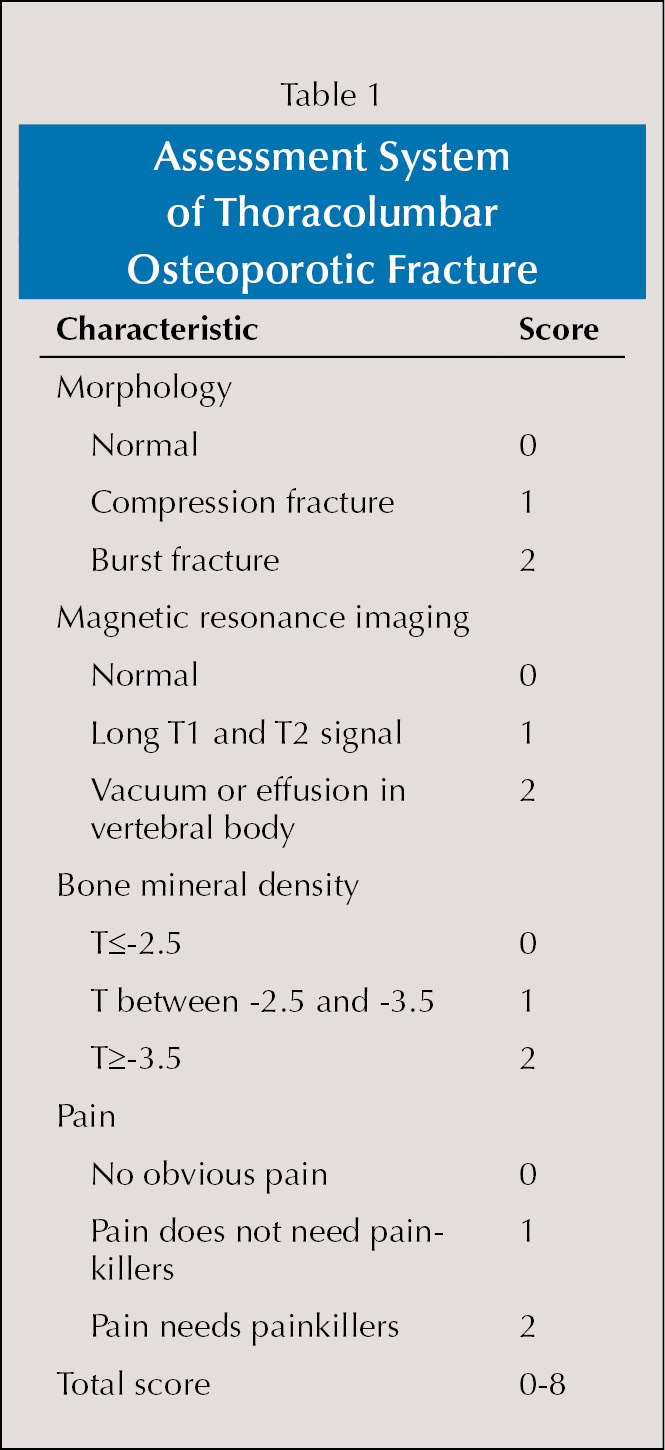 Assessment System of Thoracolumbar Osteoporotic Fracture
